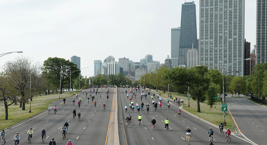 Cars get the boot for Bike the Drive on Lake Shore Drive.