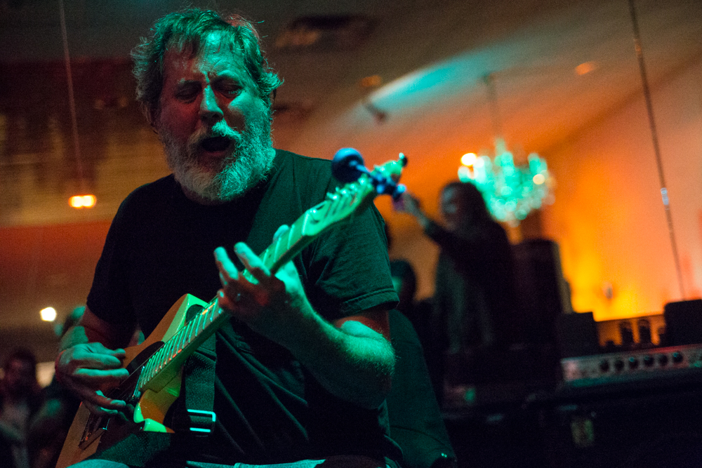 Bill Orcutt duets with violinist Austin Wulliman on Friday.