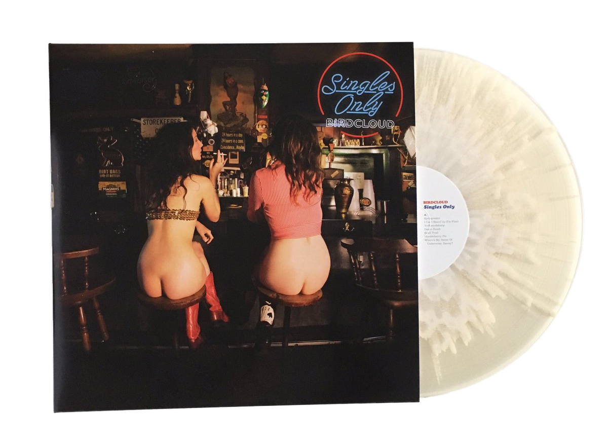 """The cover of the double-LP Birdcloud collection <i>Singles Only</i>, which has been pressed on """"cum-colored"""" vinyl"""