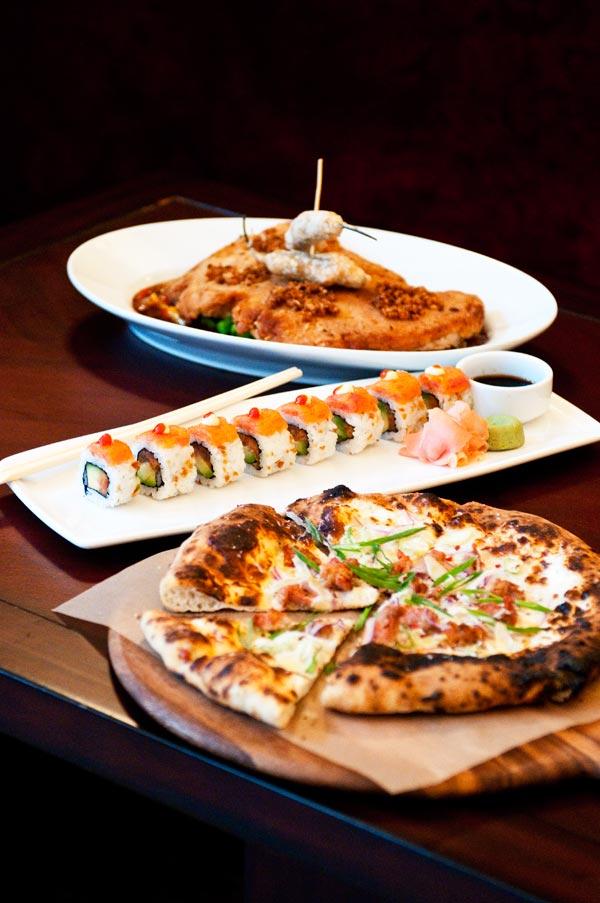 Sausage-fennel pizzetta, spicy tuna roll, brick chicken diablo