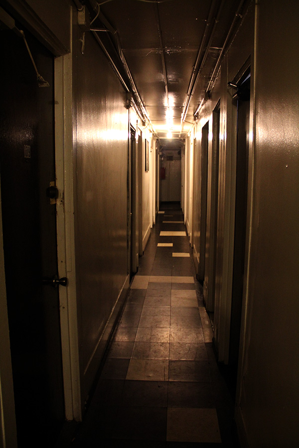 The SRO's narrow first-floor hallway