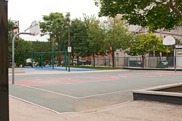 Broncho Billy playlot, Uptown: The basketball rims were removed to stem gang activity, but some residents say it's an attack on black kids who played ball there.