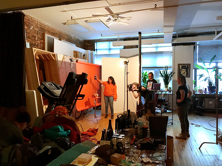 Yazmin poses for the Arts & Culture shoot. Lisa sets up the shot with help from Jamie Ramsay and photo assistant Brian Gladkowski.