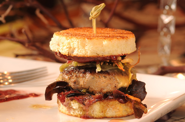Tomfoolery burger: Dietzler sirloin, foie gras, and red wine-black truffle mayo, on brioche