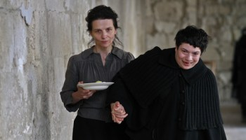 Juliette Binoche and one of the nonprofessional actors cast