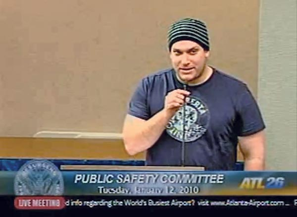 Matthew Cardinale at an Atlanta city council committee meeting in January