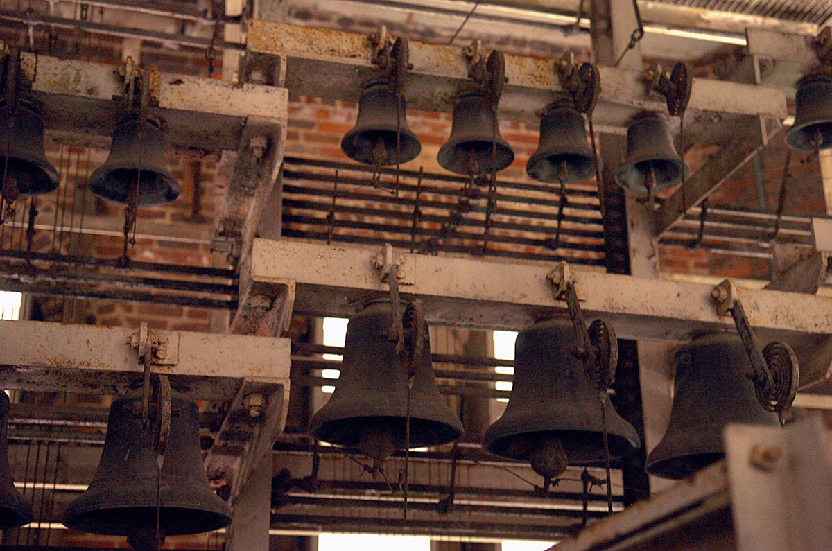 The bells of the carillon at Rockefeller Memorial Chapel