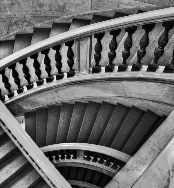 The Randolph Street staircase leading to the Chicago Cultural Center's Grand Army of the Republic Memorial Hall