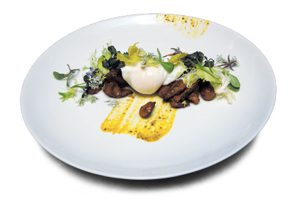 Chicken gizzards with poached egg