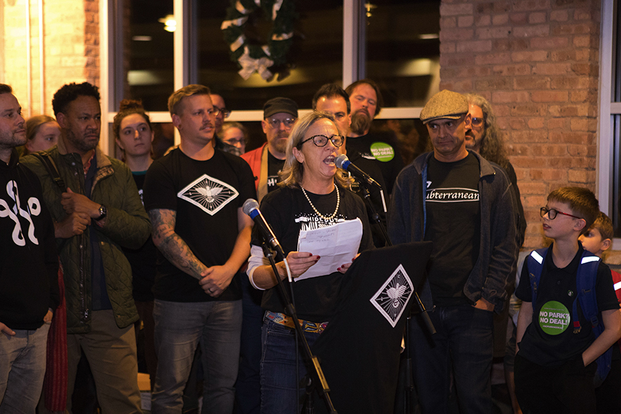 Hideout co-owner Katie Tuten addresses the crowd at the November 29 CIVL meeting.