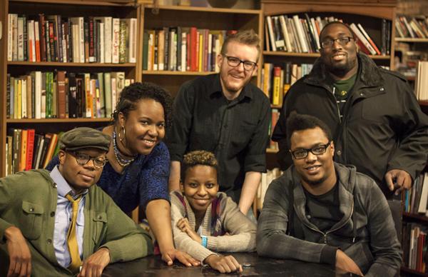 Odinaka Ezeokoli, Rebecca O'Neal, Sonia Denis, Charlie Rohrer, Bill Bullock, and Justin Covington at Uncharted Books.