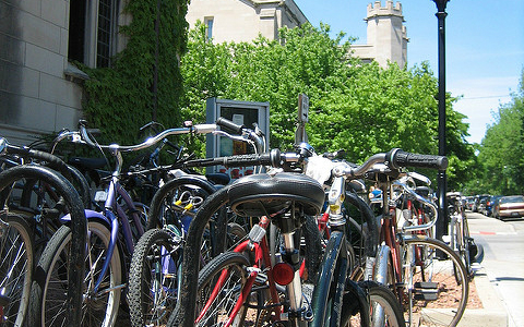Bike racks, like these in Hyde Park, are often jam-packed around the city.