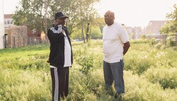 Victor Parris Mitchell and Ray Barney of Dance Mania Records near Barney's home in North Lawndale