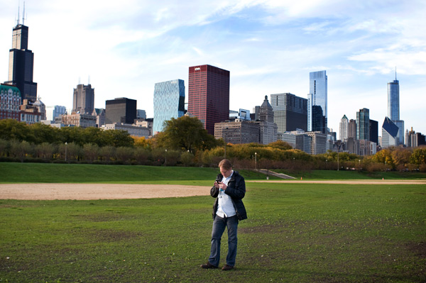 Daniel Krieglstein hunts for the spot in Grant Park from which he enjoyed a front-row seat to Obama's 2008 victory.