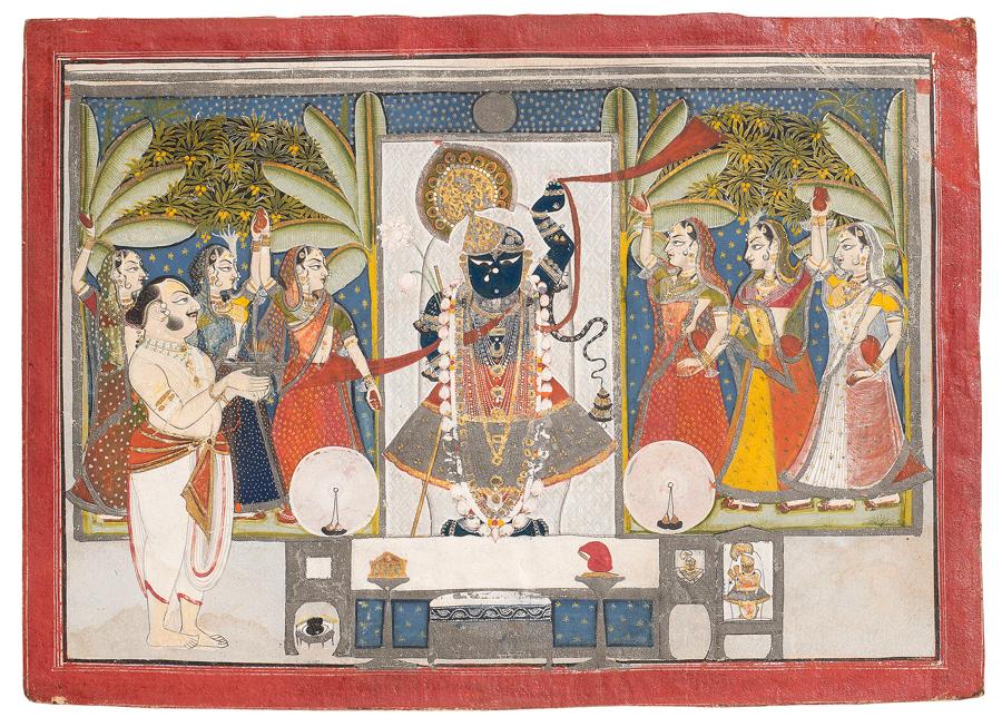 <i>Dauji II Performing Arati on Sharad Purnima</i> depicts an autumn festival scene commemorating Krishna's circle dance with milkmaids under the full moon.