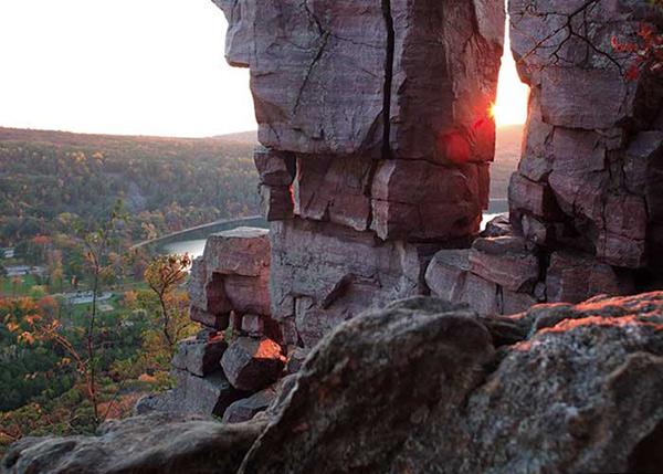 Quartzite bluffs overlooking Devil's Lake