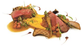 Squab with mountain ash berries and carrot puree