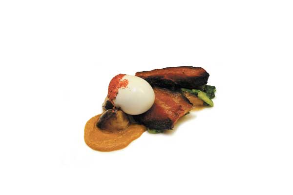 Miso-red bean paste bacon with soft-boiled egg, shiitakes, and kimchi puree