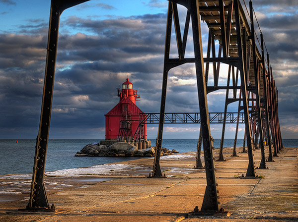 Eleven lighthouses, including the Sturgeon Bay Ship Canal Lighthouse, line Door County's coastline, which was once a magnet for shipwrecks.