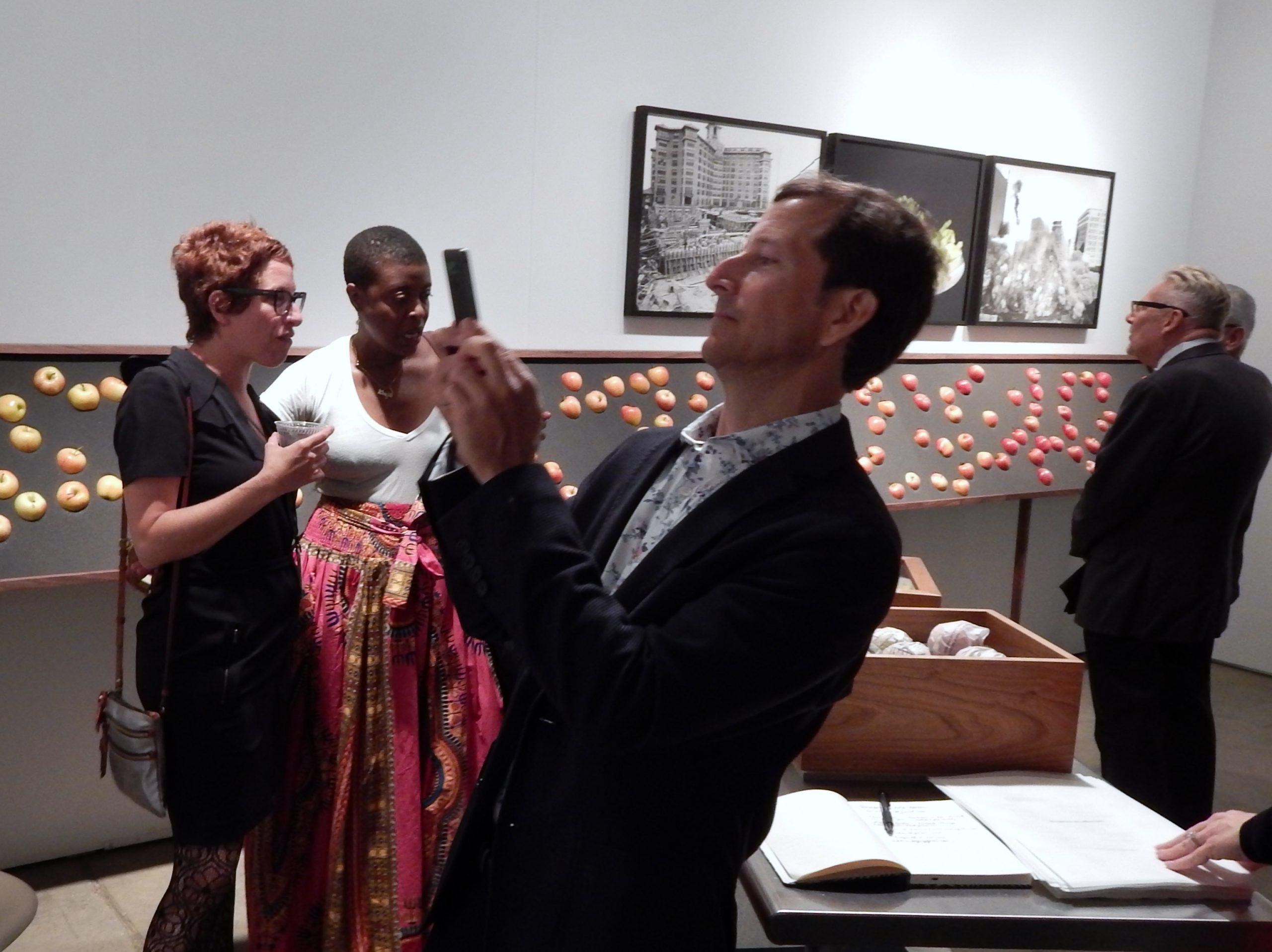 Artist Susy Bielak, Krista Franklin, and Paul Marks at Threewalls