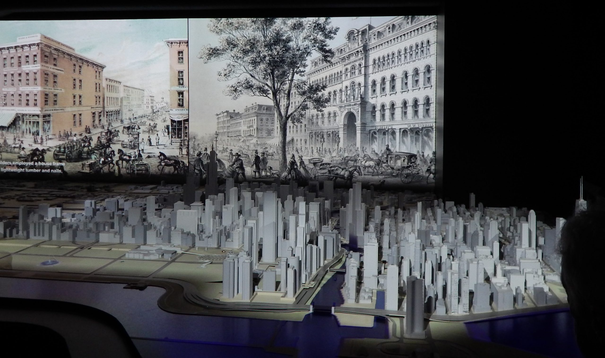 The Chicago Model in the foreground; the city's history on film, behind
