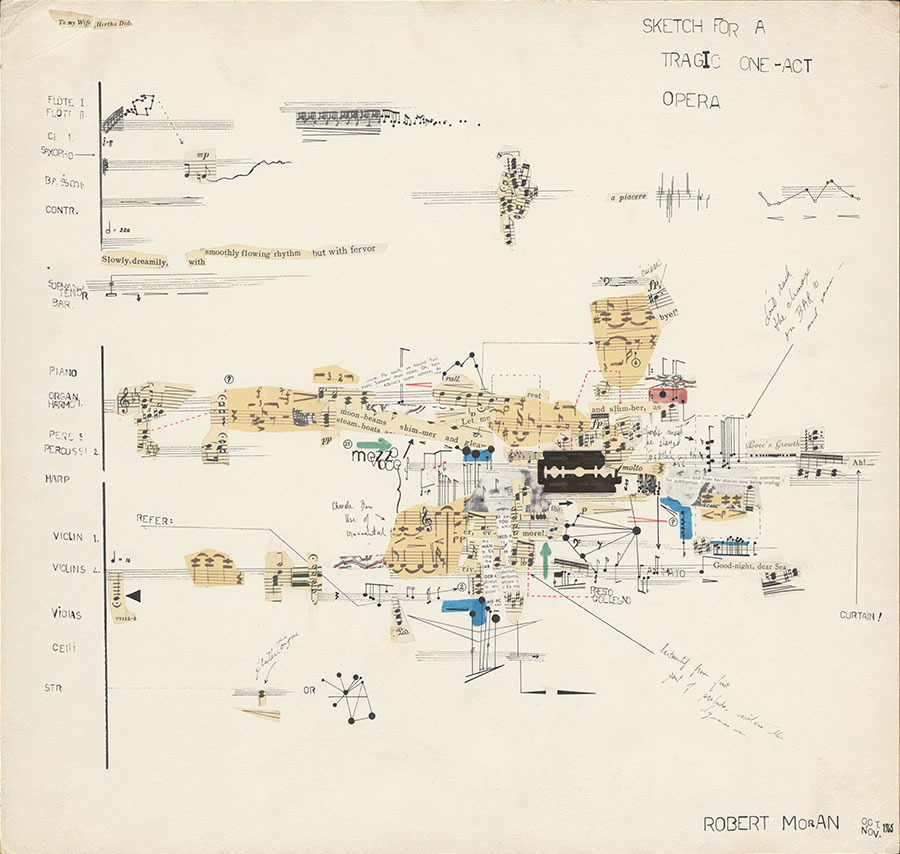 Robert Moran created <i>Sketch for a Tragic One-Act Opera</i> specifically for John Cage's <i>Notations</i> book project. Its nontraditional score includes a razor blade taped to the page.
