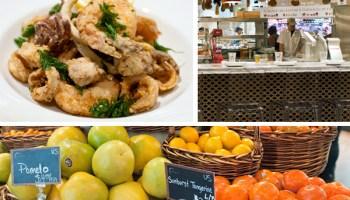 Top: La Piazza's lemon-splashed calamari, octopus, and shrimp, and its salumi and formaggi station; bottom: the market's citrus selection