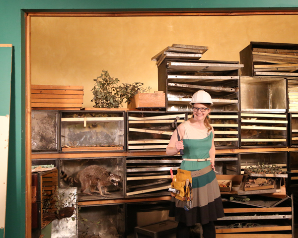 Emily Graslie inside the unused diorama alcove that's been hidden behind a wall for more than 80 years.