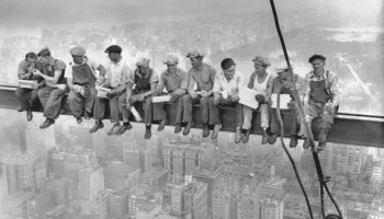 <i>New York Construction Workers Lunching on a Crossbeam</i> by Charles C. Ebbets