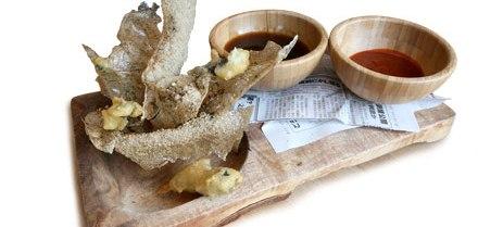 Chestnut-flour spaetzle with duck rillettes, blueberries, and chestnut pesto