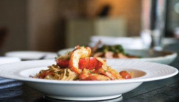Salero's most magnificent dish: a whole Maine lobster, split and grilled, sitting atop a pile of Manila clams and firm <i>fideos</i>