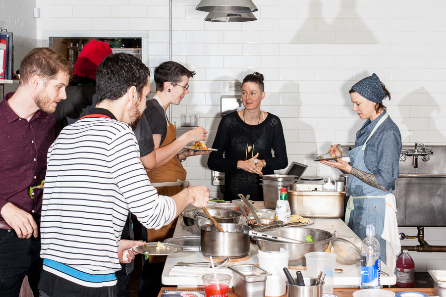 Elizabeth's staff meals range from sauteed shrimp one night to the tacos pictured. Chef-owner Iliana Regan (far right) views the meals as a chance to sharpen skills.