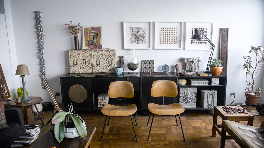 The couple's home decor is a blend of Koenen's art and Samuelson's cultural relics.