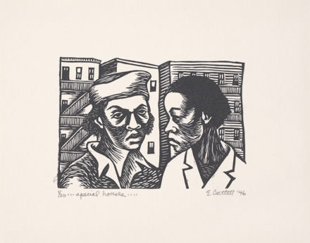 """<em>Special Houses</em> by Elizabeth Catlett, part of """"They Seek a City: Chicago and the Art of Migration, 1910-1950"""""""
