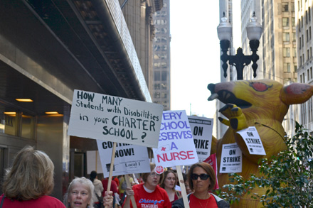 Chicago public school teachers on the picket line, a week before the strike was resolved