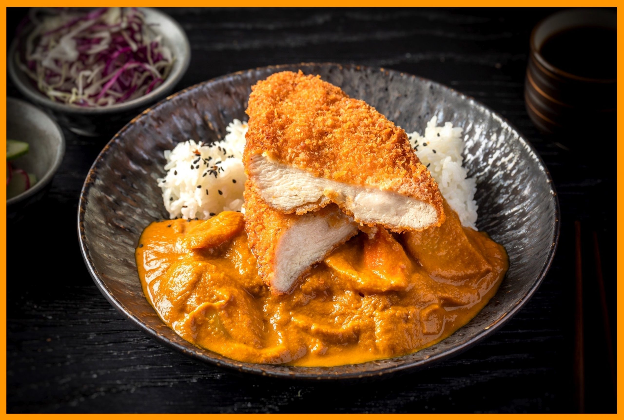 Fried chicken cutlet and curry