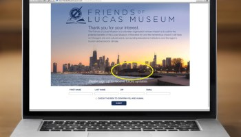 The website of the Friends of Lucas Museum shows the Chicago skyline from the north, with the Park District's currently shuttered Theater on the Lake in the foreground.