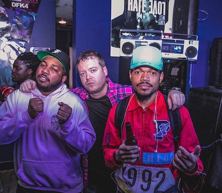At Fake Shore Drive's recent pop-up, from left to right: DJ Oreo, the Cool Kids' Chuck Inglish, Andrew Barber, and Chance the Rapper