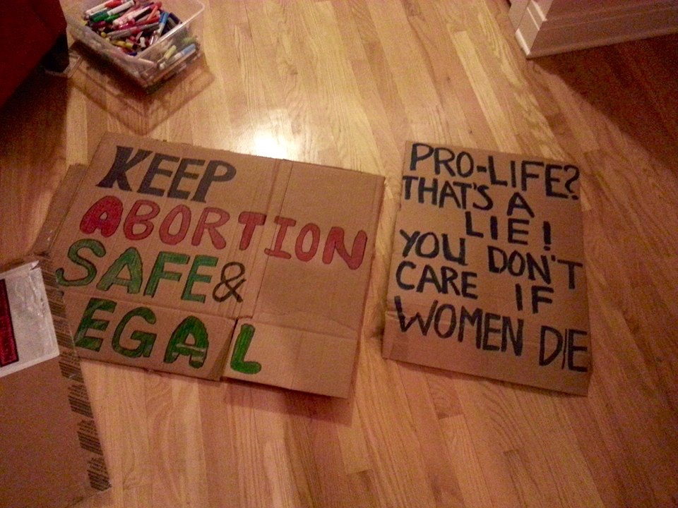 Posters from last year's counterprotest against the March For Life