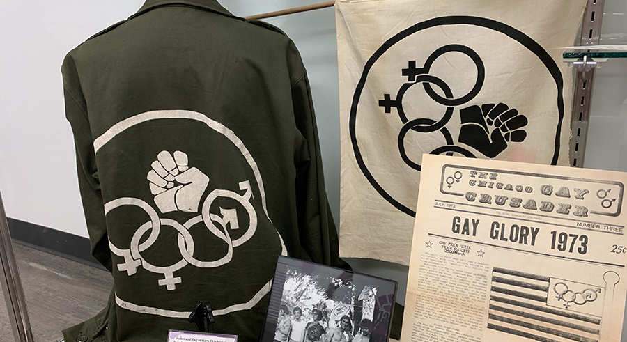 Memorabilia from the early days of the Chicago Gay Alliance on display at Gerber/Hart.