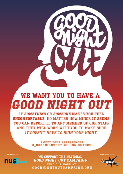 One of the flyers Good Night Out posts in participating bars and venues