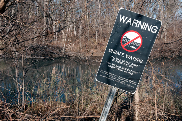 Warning sign along the Grand Calumet River in East Chicago