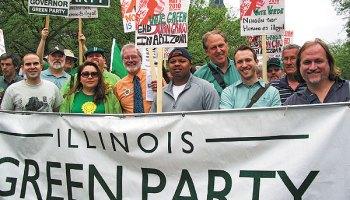 Green Party candidates, from left: Simon Ribeiro, George Milkowski, Paloma Andrade, Alberto Bocanegra (in back), Rich Whitney, LeAlan Jones, Scott Summers, Jeremy Karpen, Bob Mueller, Rob Burns
