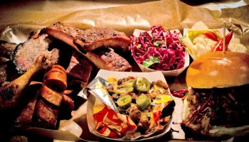 Don't waste precious stomach space on the Frito pie (center) or the hot link (left). Do gorge on everything else.