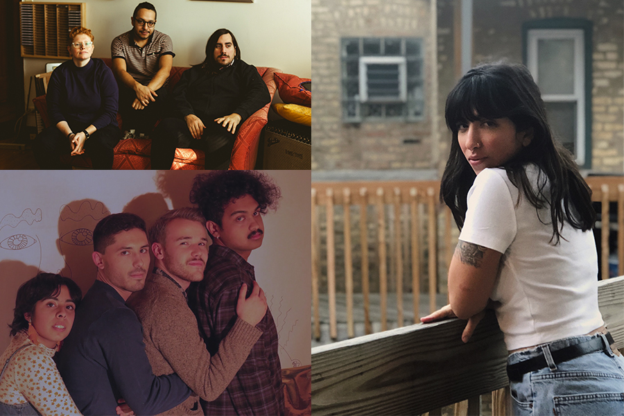 Three of the acts at this year's Demolición: Pkng (upper left) are Sarah Seguine-Hall, Elmer Martinez, and Alexander Adams. GirlK (lower left) are Kathy Patino, Alex Pieczynski, Kevin Sheppard, and Ajay Raghuraman. Tenci (right) is the project of singer-songwriter Jess Shoman.