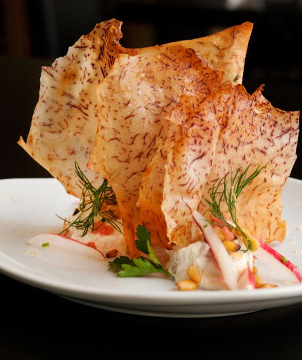 Taro chips and haddock dip