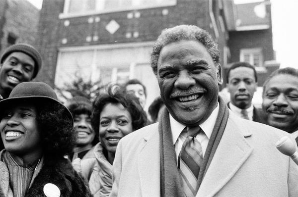 Harold Washington, then a U.S. congressman, and Danny Davis, then a Chicago alderman, in 1983.