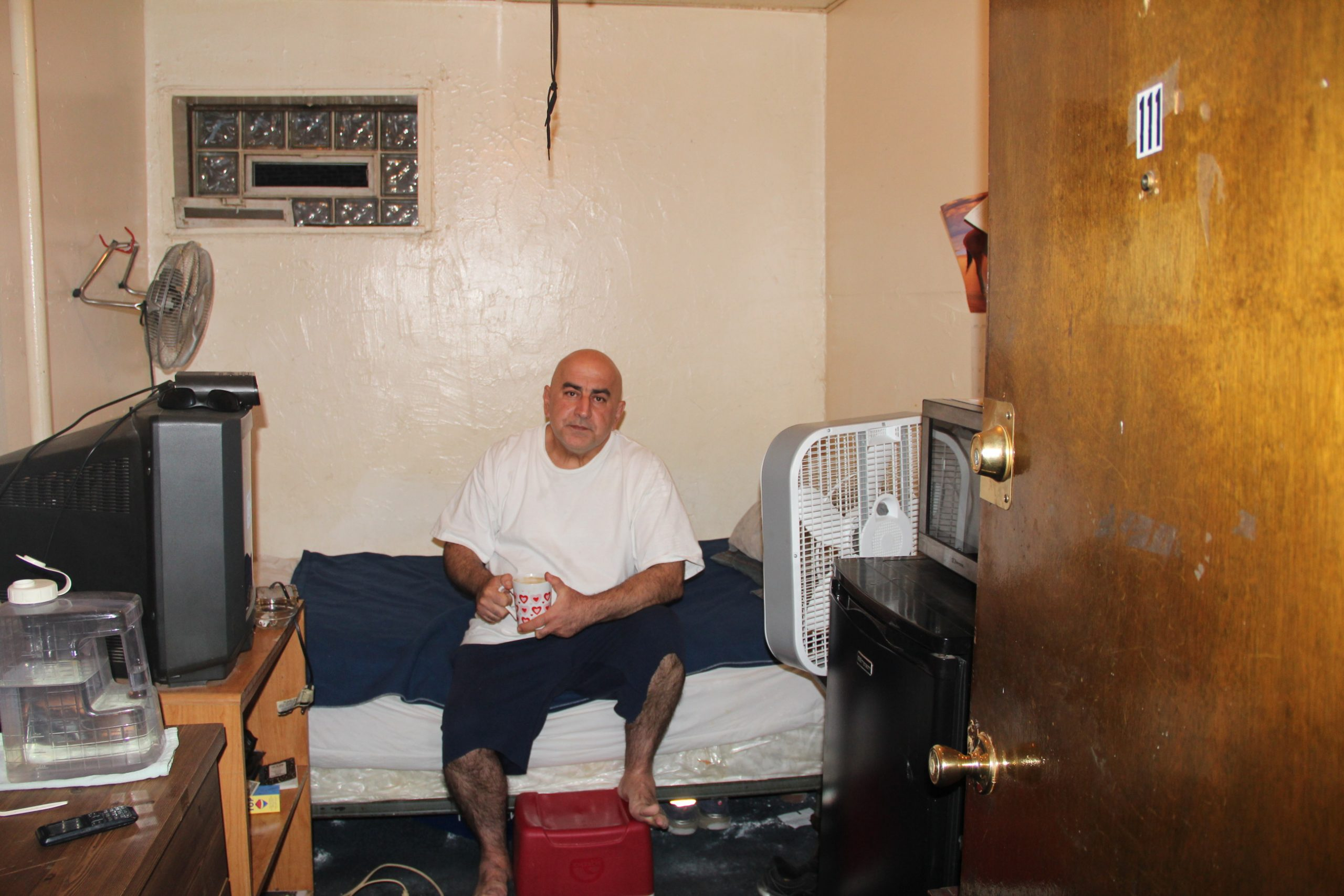 Resident Henri Khodabakhsh says mice and cockroaches are a constant problem in his first-floor room.