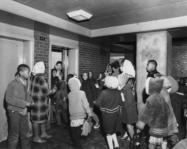 Mothers manning the elevators at the Henry Horner Homes