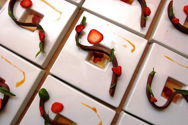 Mexican hot chocolate ganache with strawberries, balsamic vinegar consomme, and Thai basil